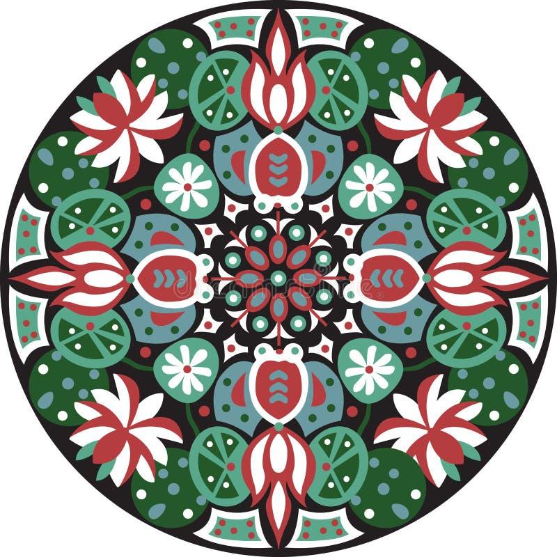 För lotusblommablomma för vektor orientalisk traditionell modell för cirkel för guldfisk vektor illustrationer
