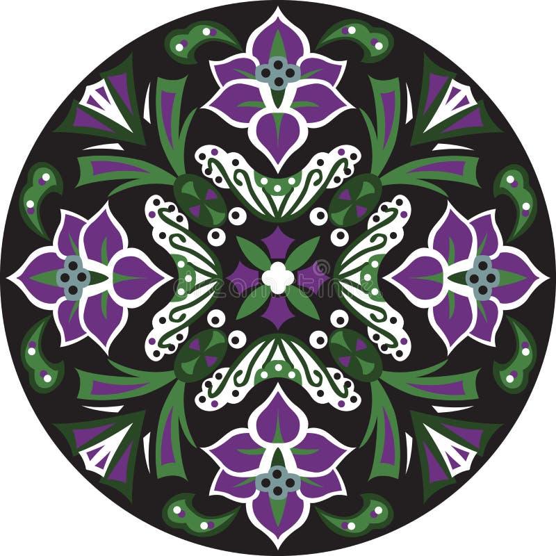 För lotusblommablomma för vektor orientalisk traditionell rund modell royaltyfri illustrationer
