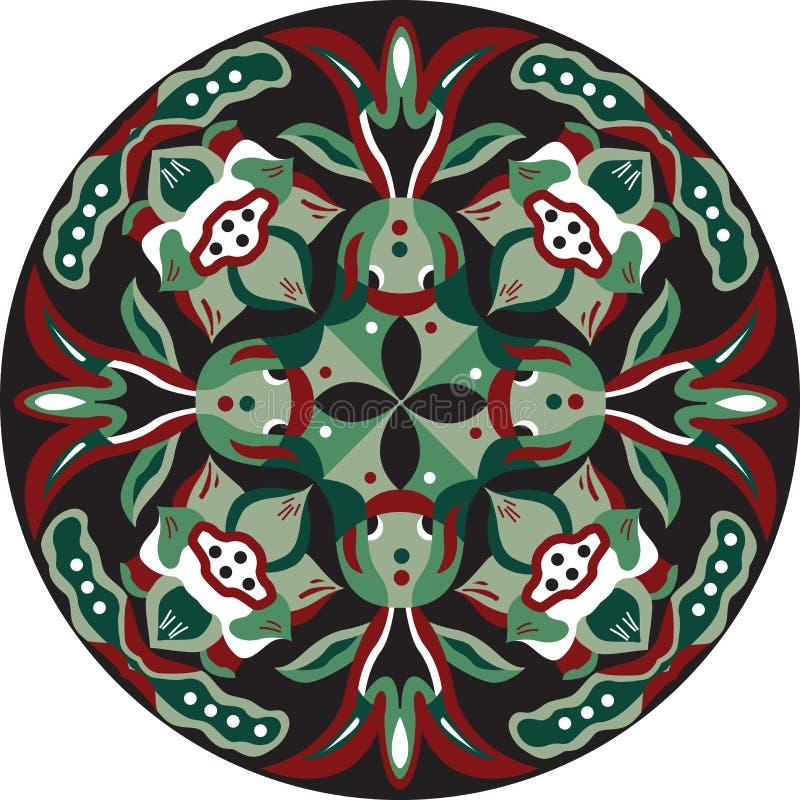 För lotusblommablomma för vektor rund modell för orientalisk traditionell guldfisk royaltyfri illustrationer