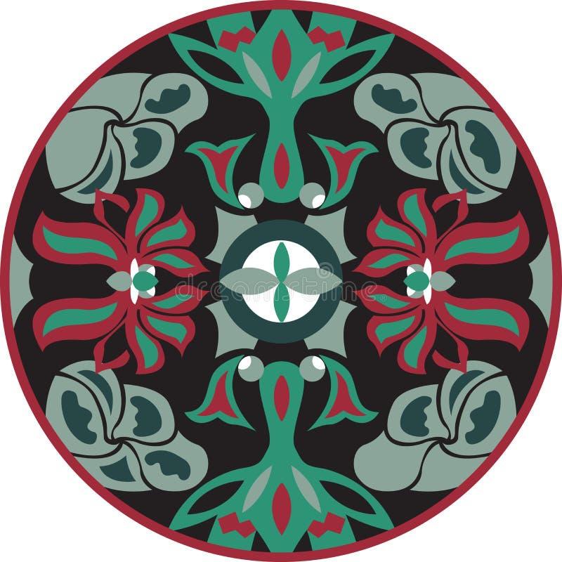 För lotusblommablomma för vektor rund modell för orientalisk traditionell guldfisk vektor illustrationer