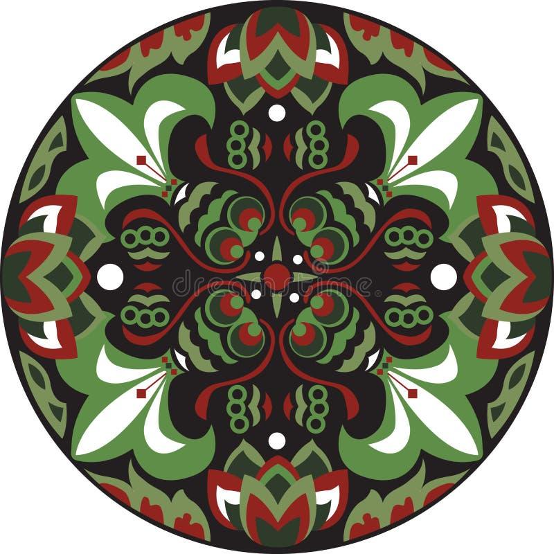 För lotusblommablomma för vektor rund modell för orientalisk traditionell guldfisk stock illustrationer
