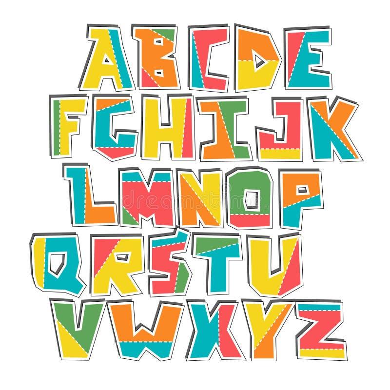 För lubberly uppsättning för klistermärke för alfabet snittvektor för hand färgrik royaltyfri illustrationer