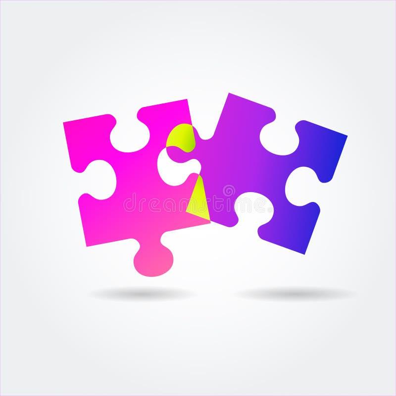 För lutningpussel för färg ljus symbol på en vit bakgrund vektor illustrationer