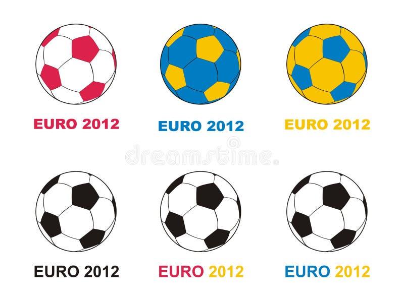 för mästerskapeuro för 2012 bollar fotboll royaltyfri illustrationer
