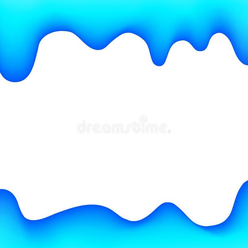 För målarfärgblått för baner genomblöt stil för tecknad film för bakgrund, vattenfärgdroppandegräns, blå ram av att drypa den krä royaltyfri illustrationer