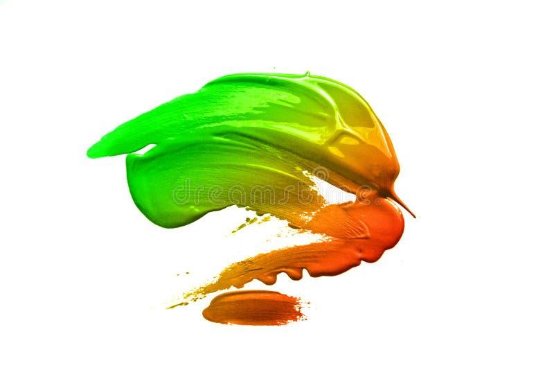 För målarfärgborste för lutning grön orange röd slaglängd för fläck royaltyfri foto