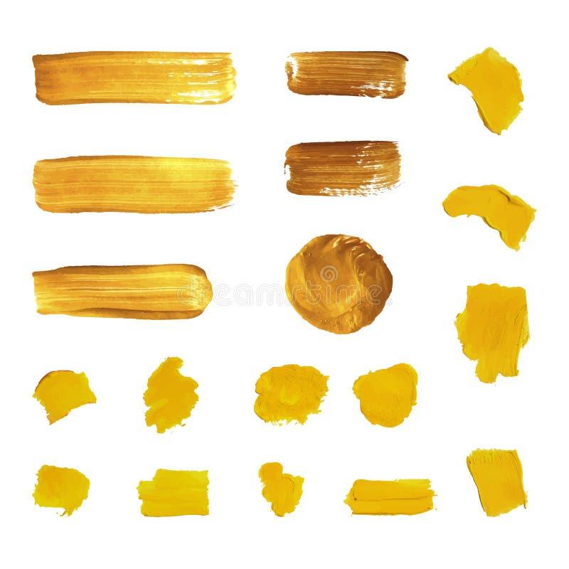 För målarfärgborste för vektor guld- slaglängder, olika former som isoleras royaltyfri illustrationer