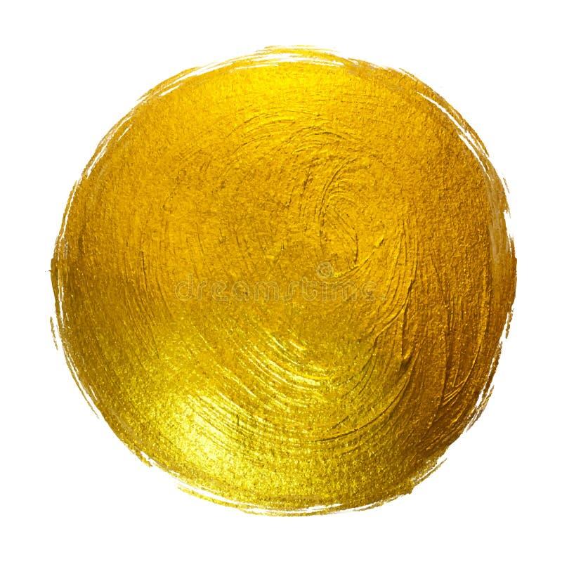 För målarfärgfläck för guld rund glänsande dragen illustration hand royaltyfri illustrationer
