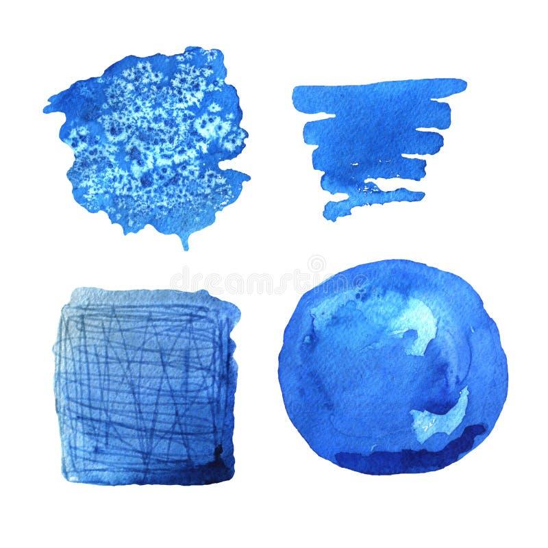 För målarfärgfläckar för vattenfärg blå uppsättning för bakgrunder för vektor stock illustrationer