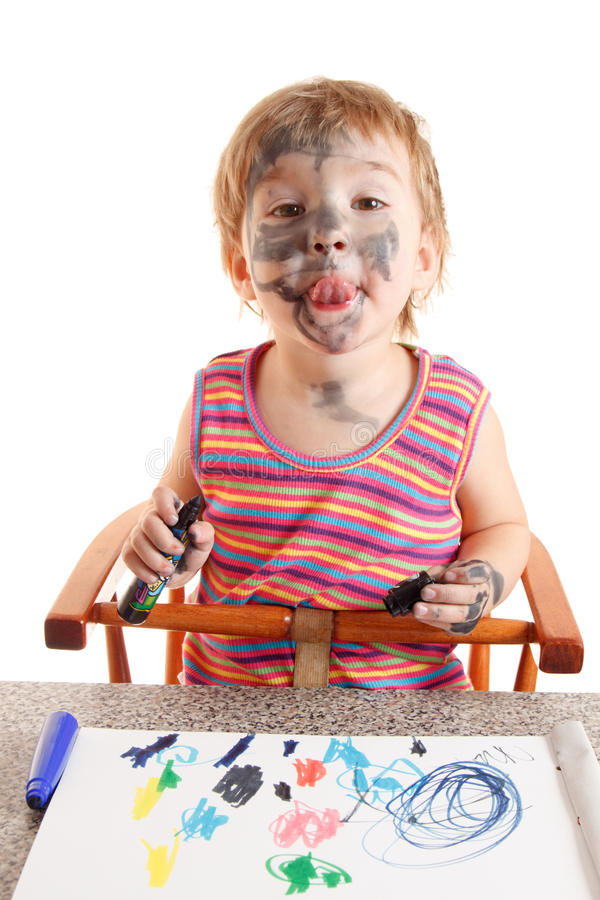 för målarfärgpapper för flicka lyckligt barn arkivbilder