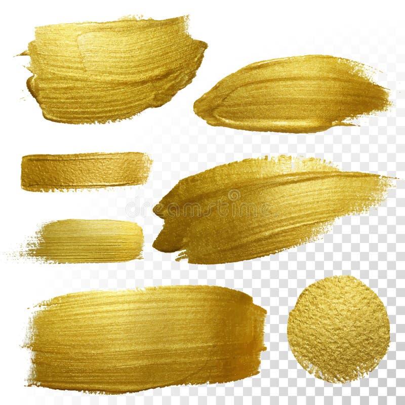 För målarfärgsudd för vektor guld- uppsättning för fläck för slaglängd stock illustrationer