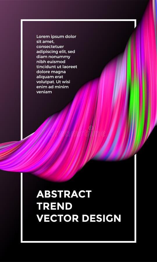 För målningabstrakt begrepp för vektor digital bakgrund Idérika livliga 3d flödar målarfärgvågen Rosa målarfärg för vätskelutning vektor illustrationer