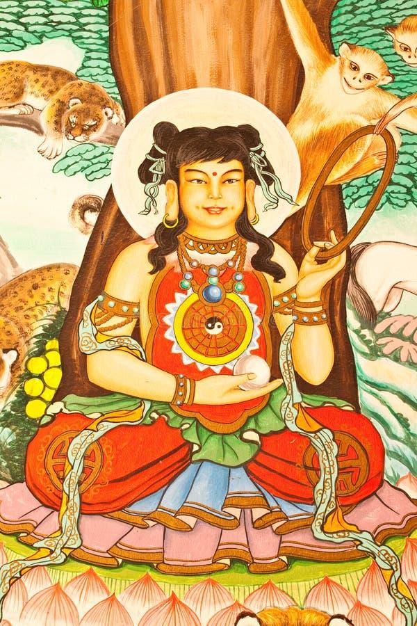 för målningsstil för konst kinesisk vägg för tempel arkivbilder