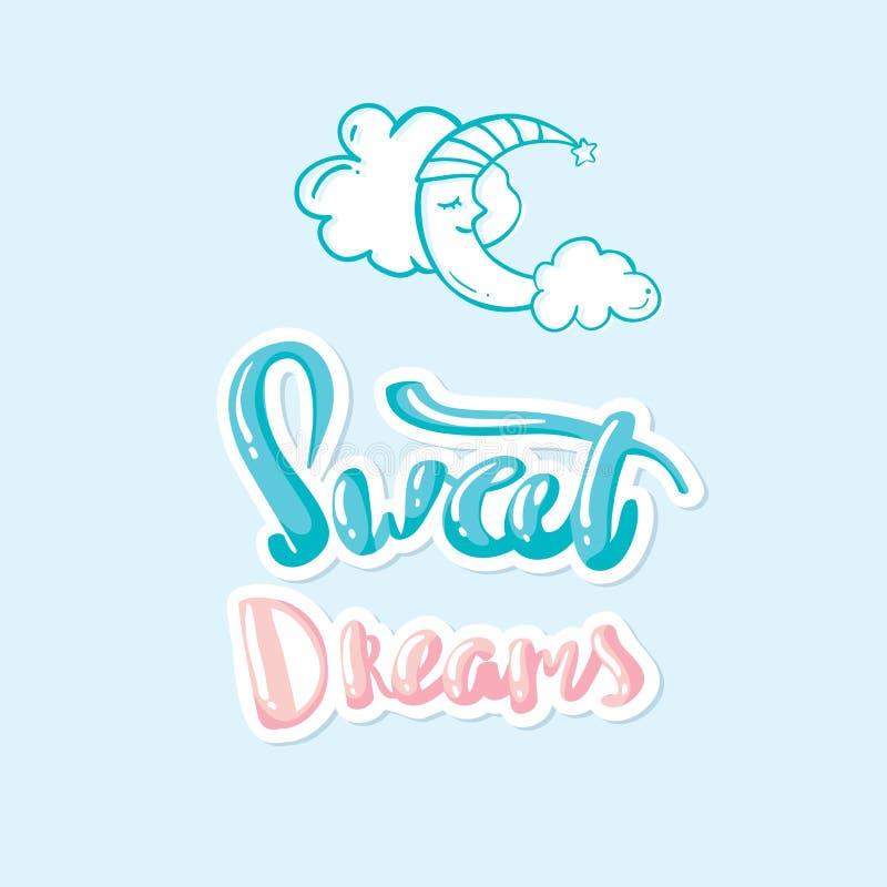 För månebokstäver för söta drömmar dragen hand stock illustrationer