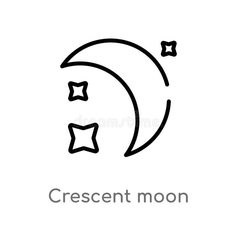 för månevektor för översikt växande symbol isolerad svart enkel linje beståndsdelillustration från astronomibegrepp Redigerbar ve vektor illustrationer