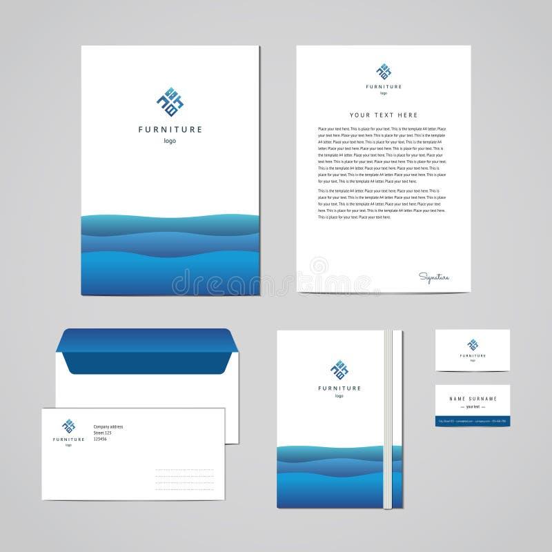 För möblemangföretag för företags identitet mall för design för blått Dokumentation för affär vektor illustrationer