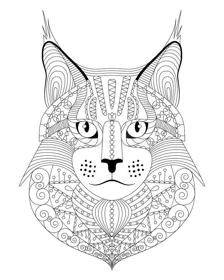 För maine för hand utdragen katt tvättbjörn med den etniska klottermodellen Antistress färgläggningsida för vuxna människor Vekto royaltyfri illustrationer