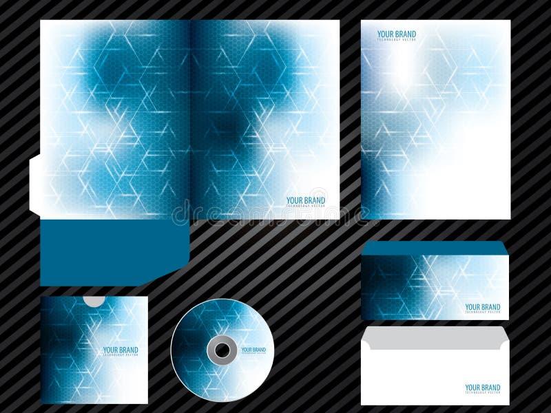 För malldesign för företags identitet brevpapper för uppsättning för affär för färg för blått stock illustrationer