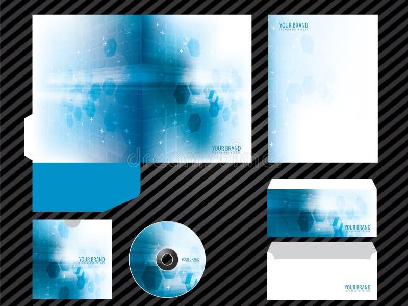 För malldesign för företags identitet brevpapper för uppsättning för affär för färg för blått royaltyfri illustrationer
