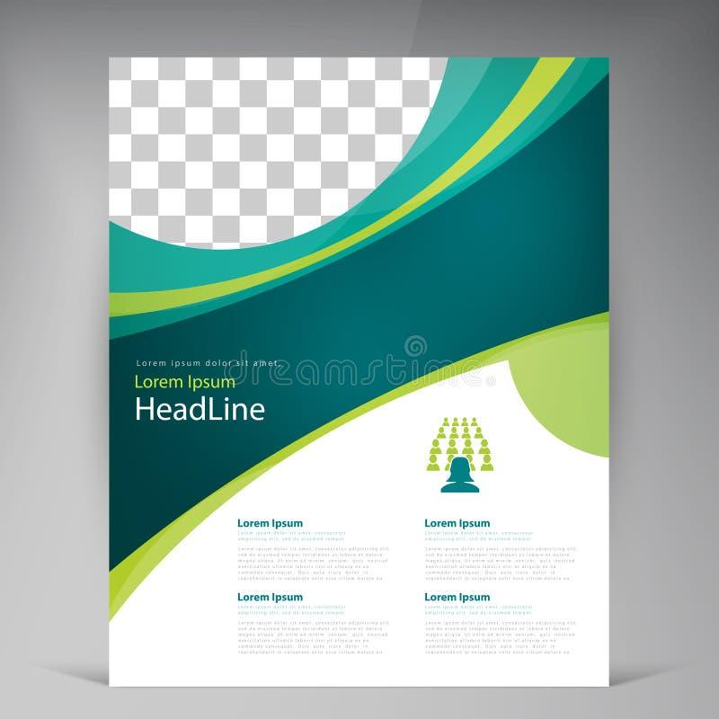 För malldesign för vektor abstrakt reklamblad, räkning med turkos och gröna multilayer band vektor illustrationer