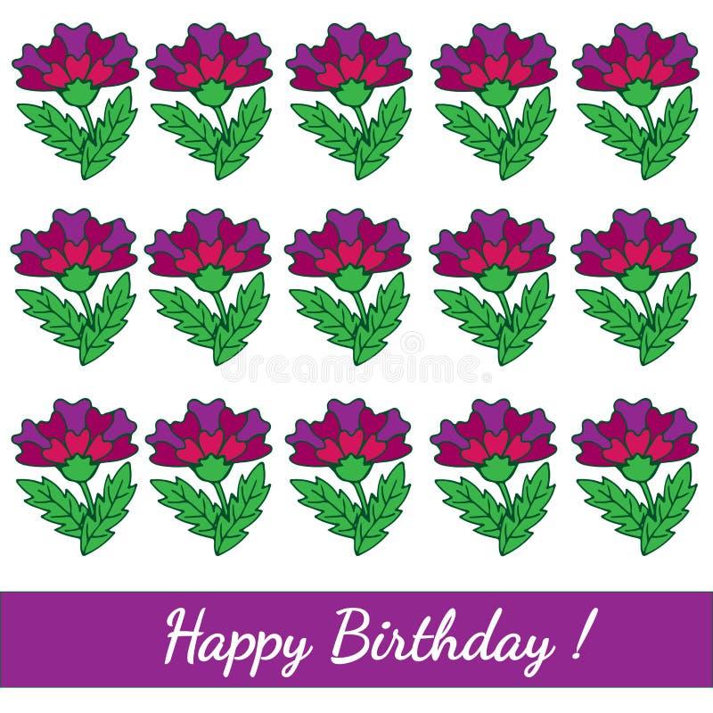 För mallhälsning för lycklig födelsedag kort med den färgrika blomman stock illustrationer