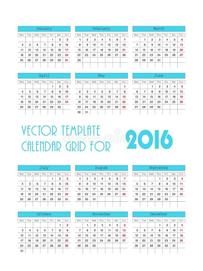 För mallkalender för vektor blått raster för 2016 vektor illustrationer