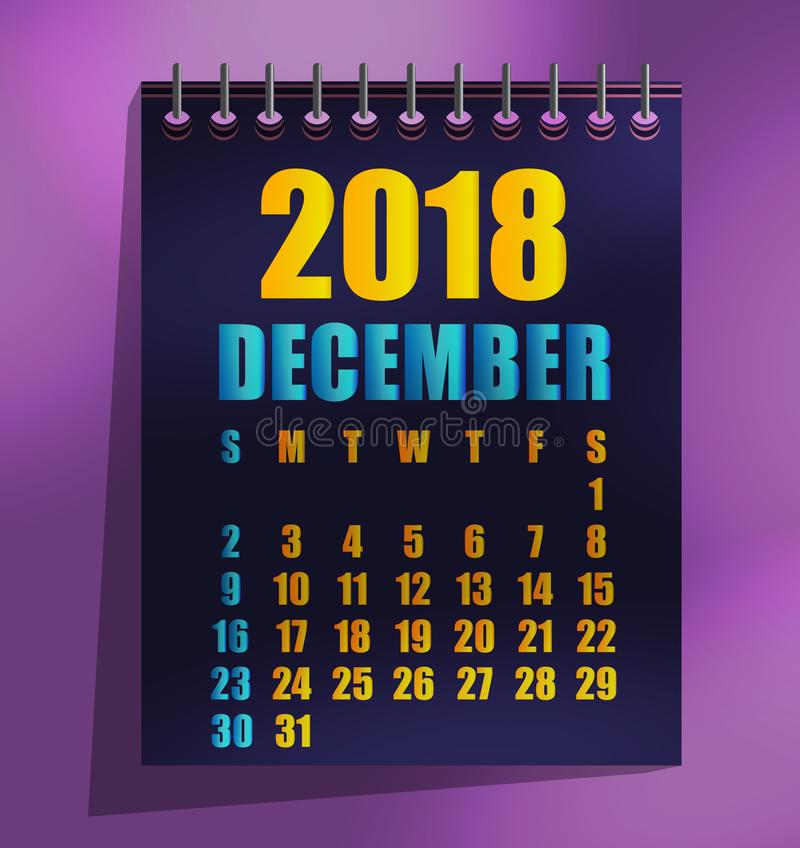 för mallvektor för 2018 kalender illustration royaltyfri illustrationer
