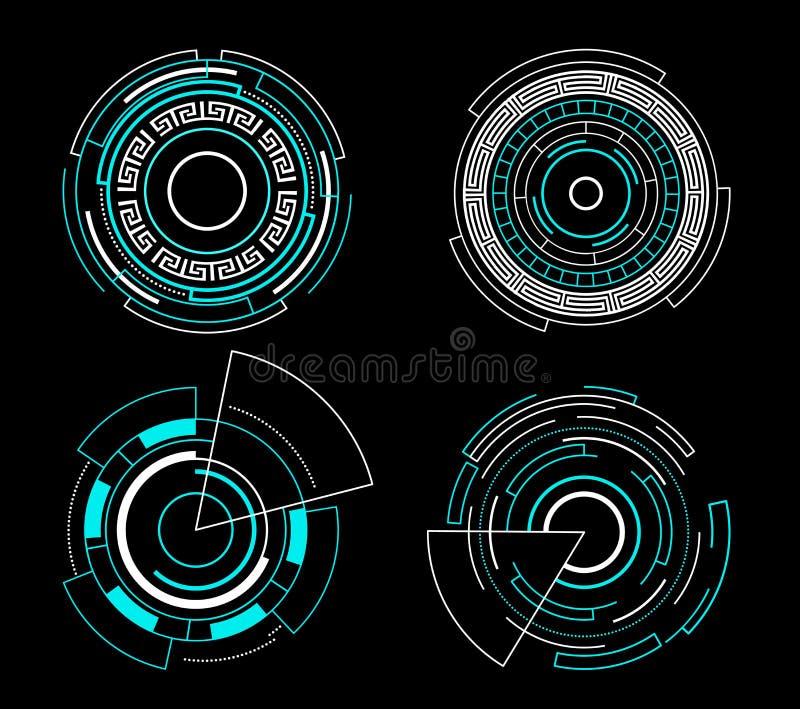 För manöverenhetshud för blå cirkel futuristisk design för teknologi för vektor för uppsättning vektor illustrationer