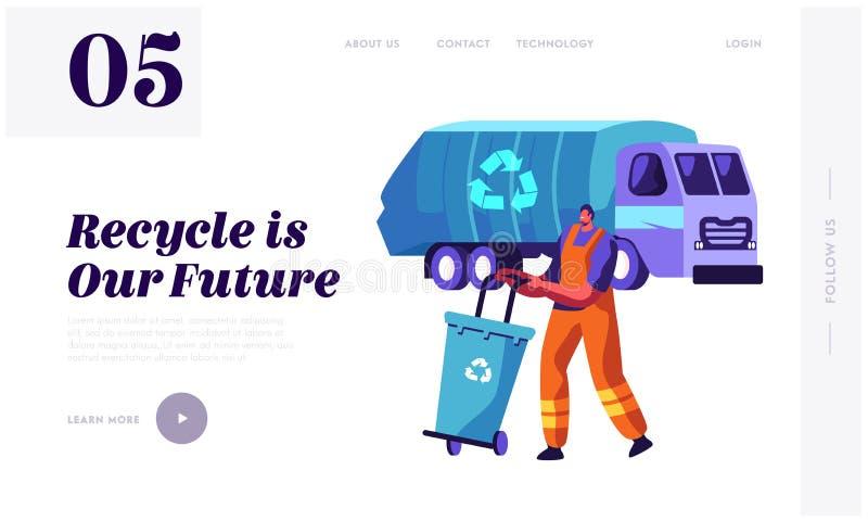 För man avfallbehållare mot efterkrav som rackar ner på lastbilen med återanvändning av tecknet Rengörande avskräde som åker last royaltyfri illustrationer