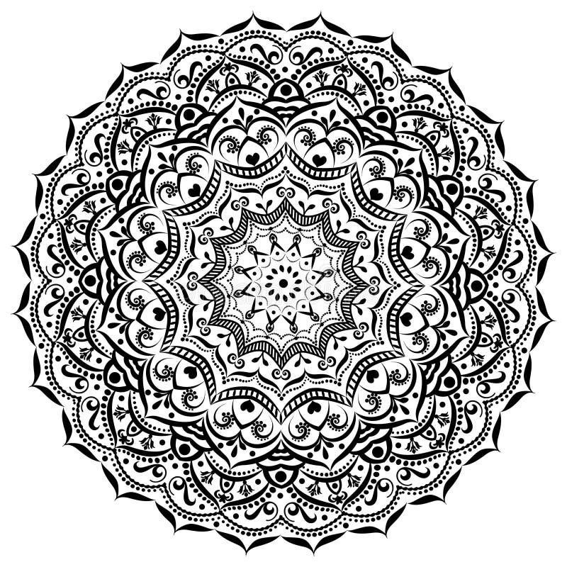 för mandalasvart för prydnad rund vit dekorativ bakgrund stock illustrationer