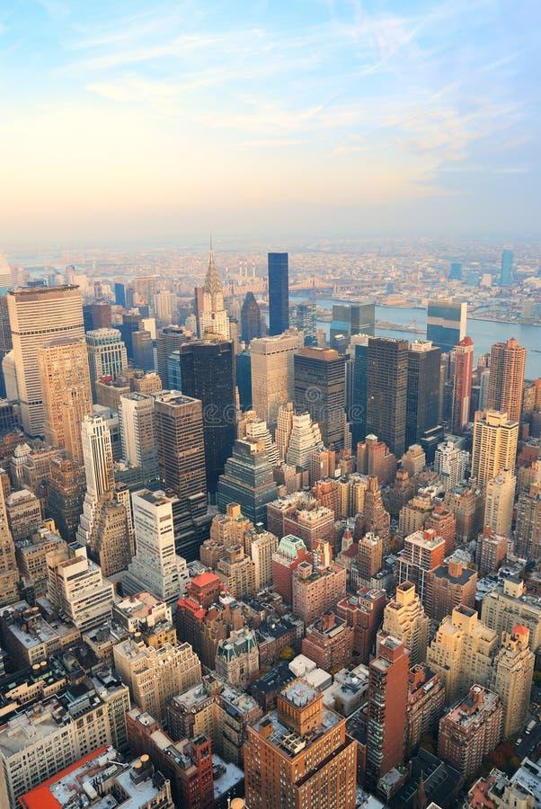 för manhattan för flyg- stad sikt york ny horisont arkivfoto