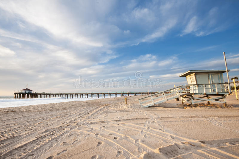för manhattan för strandguardlivstid torn pir arkivbilder