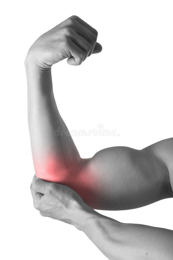 För maninnehavet för den muskulösa kroppen skavet för armbågen smärtar in i kropphälsovård och sportmedicin arkivbild