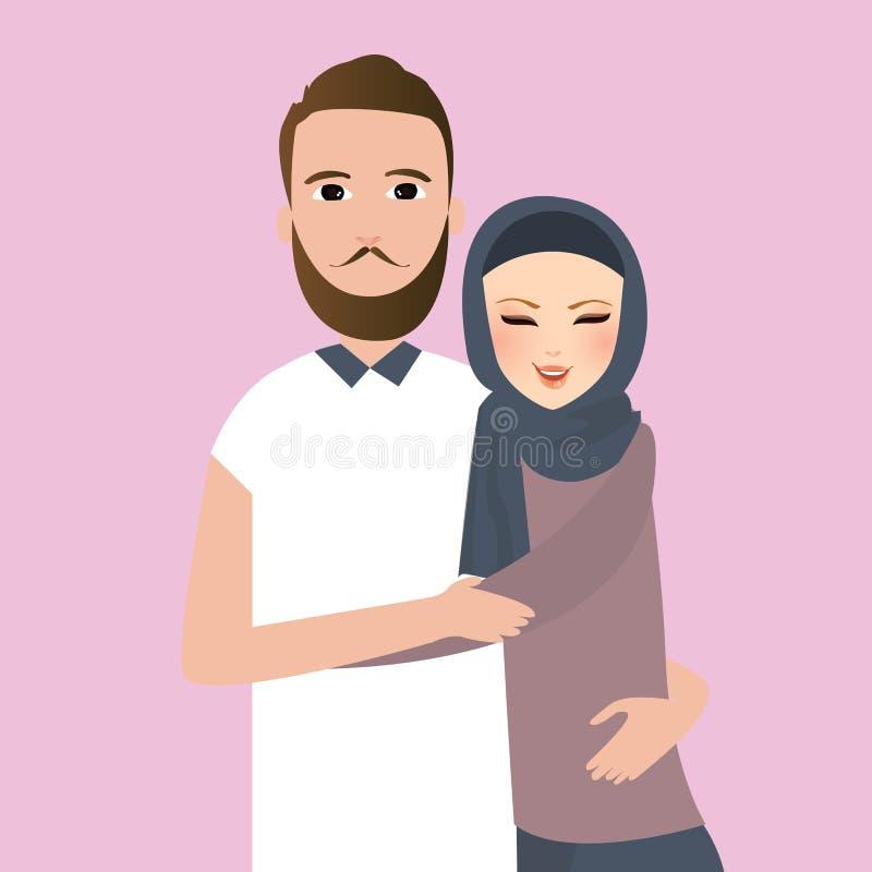 För mankvinna för islam skyler par att gifta sig kläder halsduken royaltyfri illustrationer