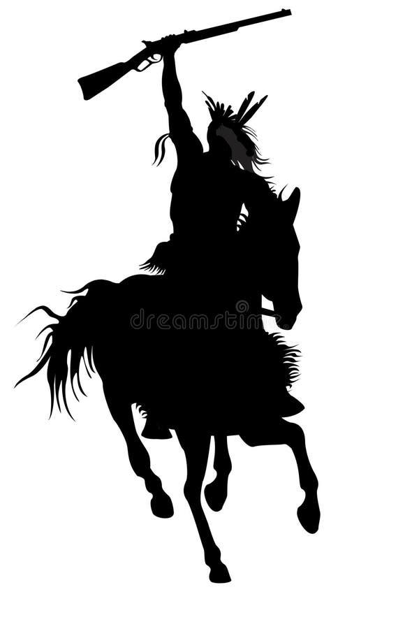 för mansilhouette för häst indisk sitting royaltyfri illustrationer