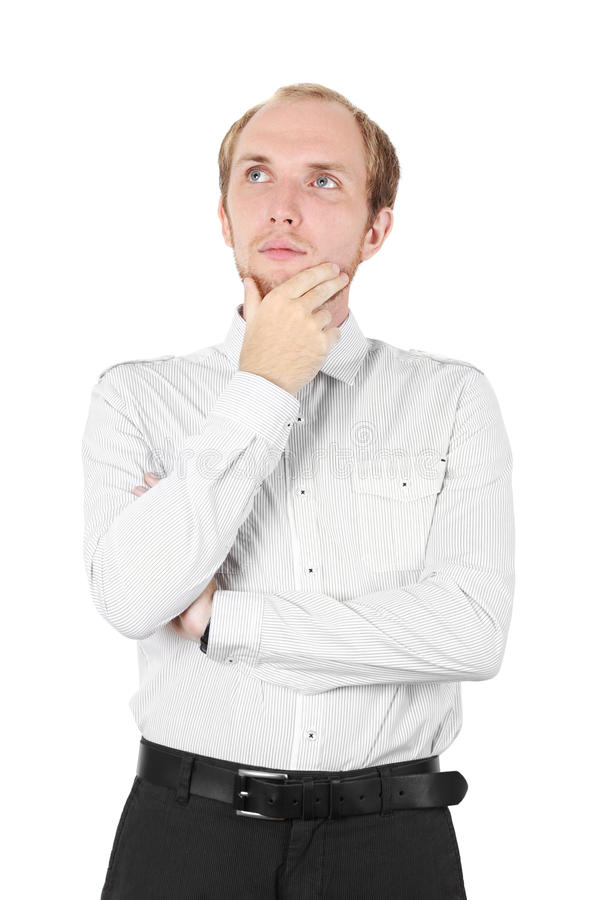 för manskjorta för haka hand isolerat tänka royaltyfri foto