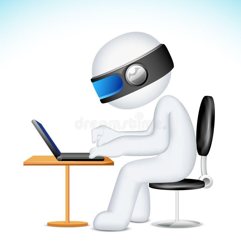 för manvektor för bärbar dator 3d working stock illustrationer