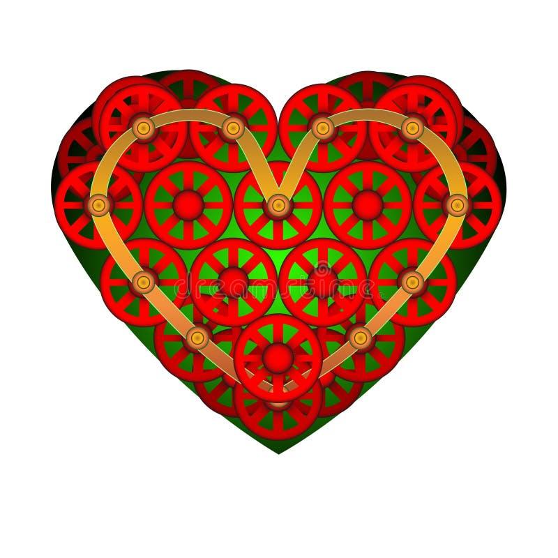 för mapphjärta för 8 eps bland annat symbol Ett symbol av förälskelse Dag för valentin s med tecknet av de lilla hjulen Plan stil vektor illustrationer