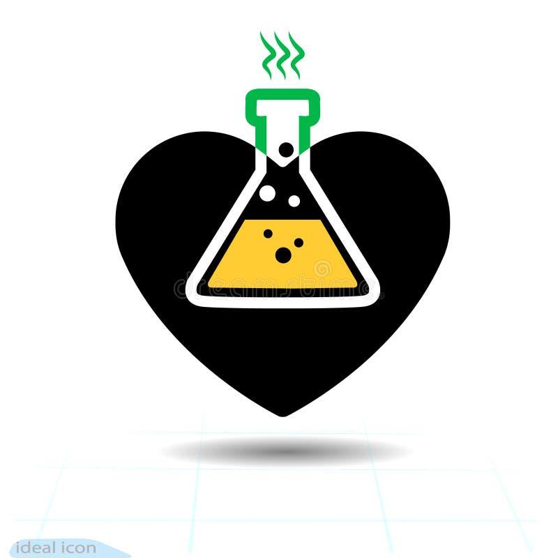 för mapphjärta för 8 eps bland annat symbol Ett symbol av förälskelse Dag för valentin s med tecknet av den kemiska faran Plan st royaltyfri illustrationer