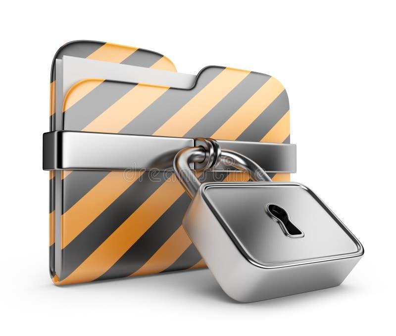för mappsymbol för data 3d säkerhet för lås stock illustrationer