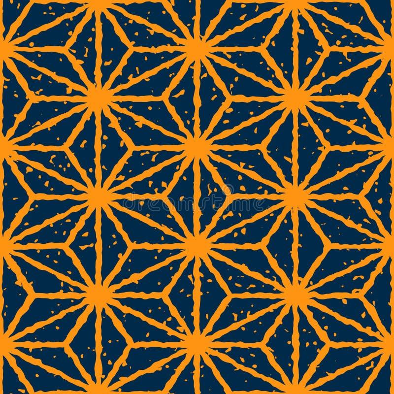 För marinfärg för vektor sömlös gul drog förvridna linjer Retro modell hand för stjärnaShape Grunge stock illustrationer
