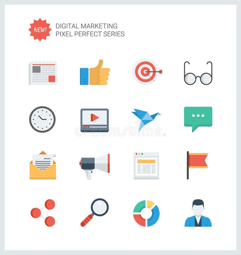 För marknadsföringslägenhet för PIXEL perfekta digitala symboler stock illustrationer