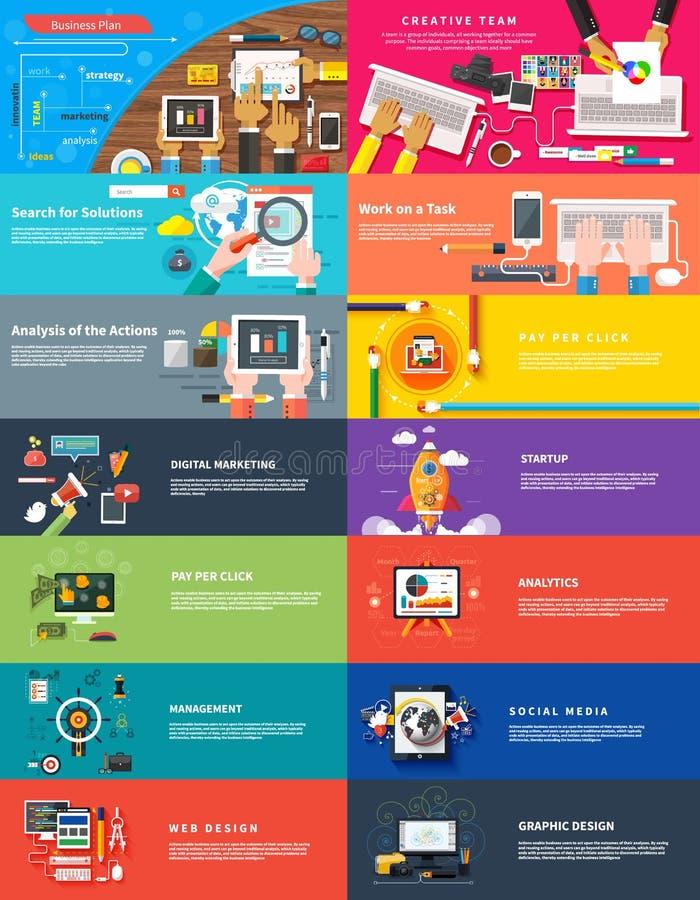 För marknadsföringssrartup för ledning digital seo för planläggning stock illustrationer