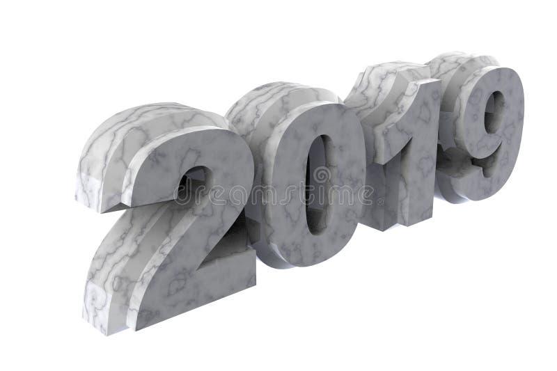 För marmortext 2019 för nytt år vit tolkning 3d stock illustrationer