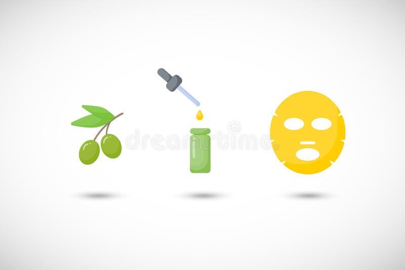 För maskeringslägenhet för olivolja ansikts- uppsättning för symboler stock illustrationer