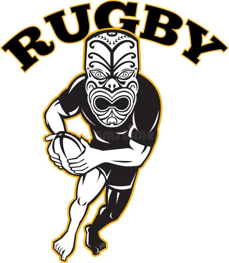 för maskeringsspelare för boll maori running för rugby stock illustrationer
