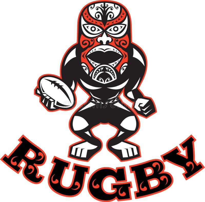 för maskeringsspelare för boll maori standing för rugby stock illustrationer