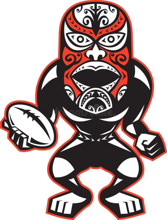 för maskeringsspelare för boll maori standing för rugby royaltyfri illustrationer