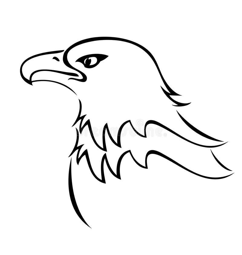 För maskotkontur för skallig örn vektor för symbol stock illustrationer