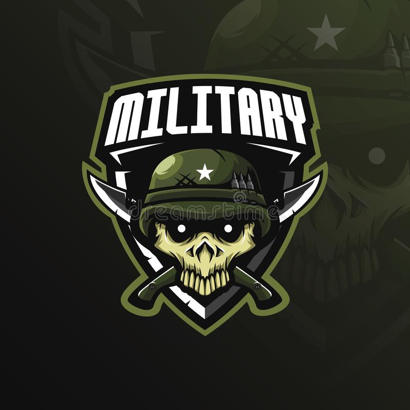 För maskotlogo för skalle militär vektor för design med modern illustrationbegreppsstil för emblem-, emblem- och tshirtutskrift s vektor illustrationer